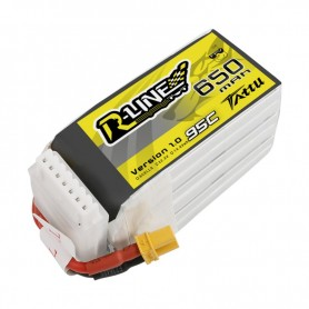 Tattu R-Line 650mAh 95C 22.2V 6S1P Lipo Battery Pack with XT30U-F Plug